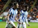 Huddersfield Town's Matty Pearson celebrates scoring their second goal on September 14, 2021