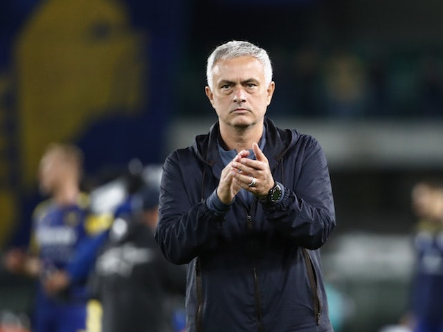 Roma coach Jose Mourinho looks dejected after the match on September 19, 2021