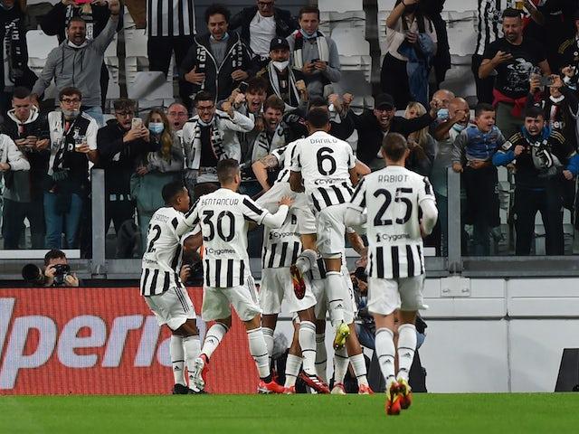 Juventus' Alvaro Morata celebrates scoring their first goal on September 19, 2021
