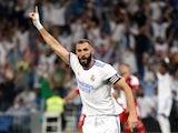 Real Madrid's Karim Benzema celebrates scoring against Celta Vigo on September 12, 2021
