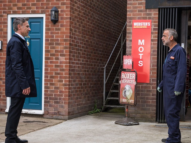 Stefan and Kim on the second episode of Coronation Street on October 1, 2021