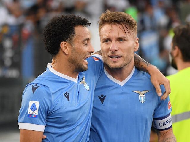 Lazio's Ciro Immobile celebrates scoring their first goal with Felipe Anderson on September 19, 2021