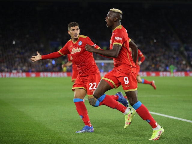Napoli's Victor Osimhen celebrates scoring against Leicester City on September 16, 2021