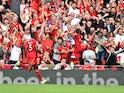 Sadio Mane celebrates scoring for Liverpool against Crystal Palace on September 18, 2021
