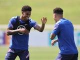 England's Marcus Rashford and Jadon Sancho during training on July 8, 2021