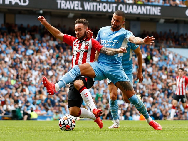 Southampton's Adam Armstrong is fouled by Manchester City's Kyle Walker in the Premier League on September 18, 2021