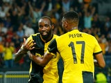 Nicolas Moumi Ngamaleu celebrates scoring for Young Boys against Manchester United in the Champions League on September 14, 2021