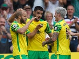 Norwich City's Teemu Pukki celebrates scoring their first goal against Watford in the Premier League on September 18, 2021