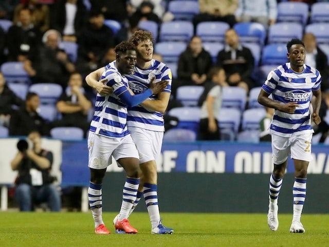Reading's Tom Dele Bashiru celebrates scoring their second goal on September 14, 2021