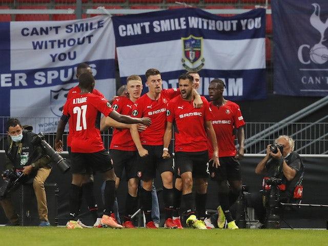 Rennes' Gaetan Laborde celebrates scoring against Tottenham Hotspur on September 16, 2021