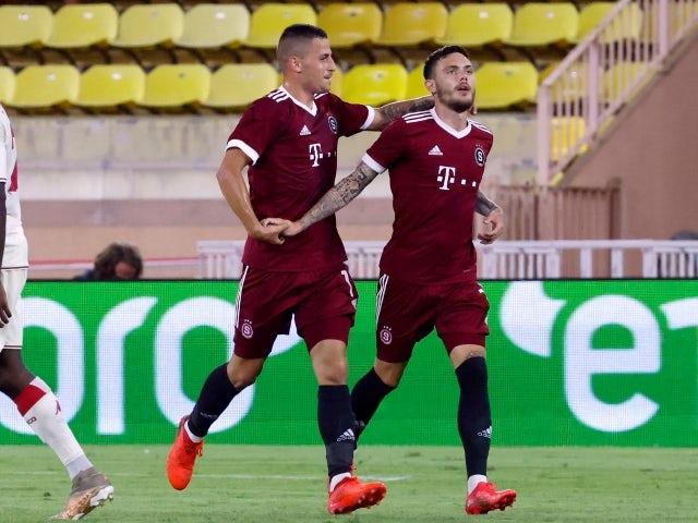 Sparta Prague's David Moberg Karlsson celebrates scoring their first goal August 10, 2021