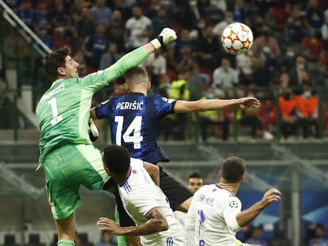 Real Madrid's Thibaut Courtois in action against Inter Milan on September 15, 2021