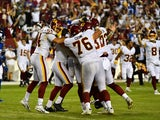 Washington Football Team place kicker Dustin Hopkins is mobbed by teammates after kicking the game winning field goal against the New York Giants on September 17, 2021