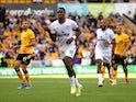 Ivan Toney celebrates scoring for Brentford against Wolverhampton Wanderers in the Premier League on September 18, 2021