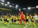 Young Boys players celebrate after the match on September 14, 2021