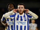Brighton & Hove Albion's Aaron Connolly celebrates scoring against Swansea City in the EFL Cup on September 22, 2021