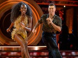 AJ Odudu and Kai Widdrington during the first Strictly Come Dancing live show on September 25, 2021