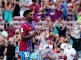 Barcelona attacker Ansu Fati celebrates scoring against Levante in La Liga on September 26, 2021