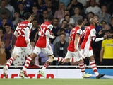 Arsenal's Alexandre Lacazette celebrates scoring against AFC Wimbledon in the EFL Cup on September 22, 2021