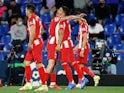 Atletico Madrid's Luis Suarez celebrates scoring their first goal against Getafe in La Liga on September 21, 2021