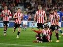 Yoane Wissa celebrates scoring for Brentford against Liverpool in the Premier League on September 25, 2021