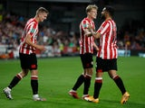 Brentford's Marcus Forss celebrates scoring their fifth goal against Oldham in the EFL Cup on September 21, 2021