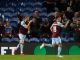 Burnley's Jay Rodriguez celebrates scoring their first goal against Rochdale in the EFL Cup on September 21, 2021