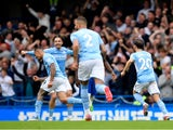 Manchester City's Gabriel Jesus celebrates scoring their first goal against Chelsea in the Premier League on September 25, 2021