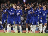Chelsea players celebrate their penalty-shootout win over Aston Villa in the EFL Cup on September 22, 2021