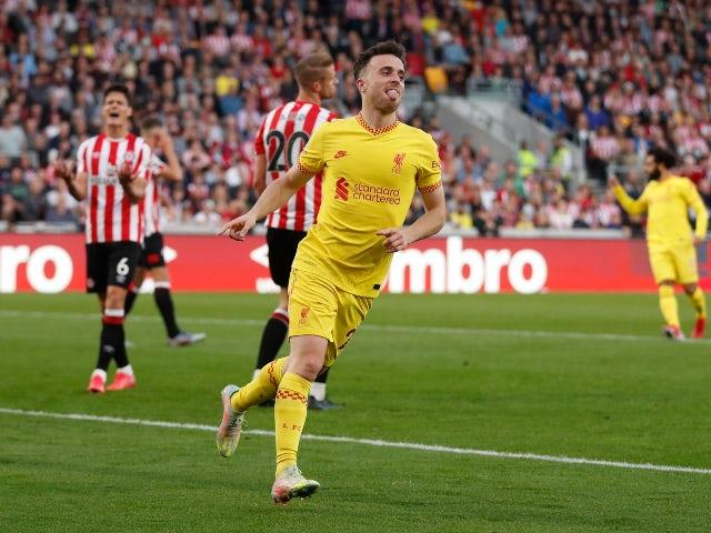 Diogo Jota celebrates scoring for Liverpool against Brentford in the Premier League on September 25, 2021