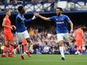 Everton's Andros Townsend celebrates scoring their first goal against Norwich City in the Premier League on September 25, 2021
