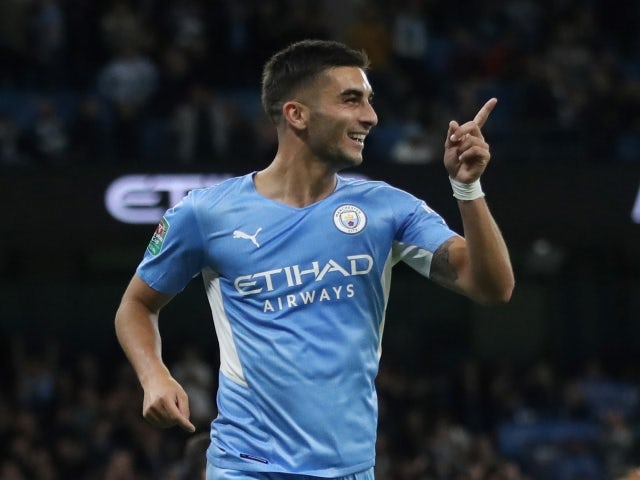 Manchester City's Ferran Torres celebrates scoring against Wycombe Wanderers on September 21, 2021
