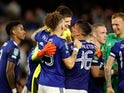 Leeds United's Illan Meslier celebrates with teammates against Fulham in the EFL Cup on September 21, 2021