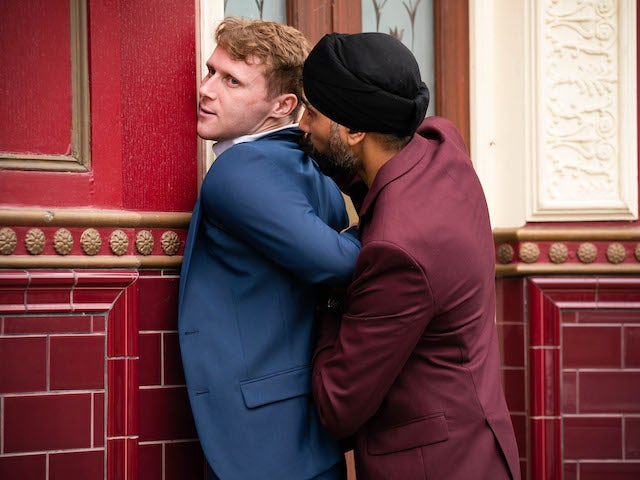 Jay and Kheerat on EastEnders on October 4, 2021