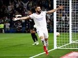 Real Madrid's Karim Benzema celebrates scoring against Mallorca in La Liga on September 22, 2021