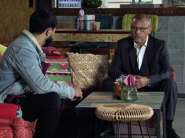 Zeedan and Hashim on the second episode of Coronation Street on October 8, 2021