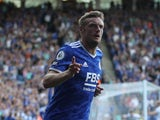 Leicester City's Jamie Vardy celebrates scoring against Burnley in the Premier League on September 25, 2021