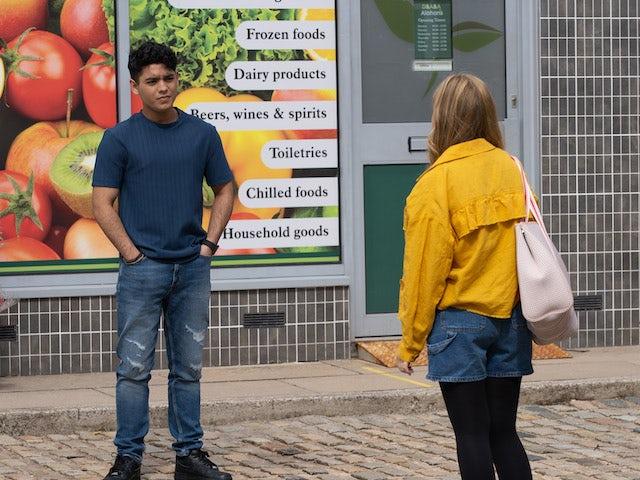 Aadi on the second episode of Coronation Street on October 4, 2021