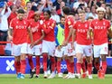Nottingham Forest's Max Lowe celebrates scoring their first goal against Millwall in the Championship on September 25, 2021