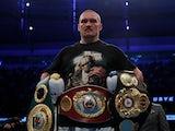 Oleksandr Usyk celebrates winning his fight against Anthony Joshua on September 25, 2021