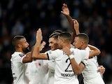 Paris Saint-Germain (PSG) players celebrates scoring against Metz on September 22, 2021
