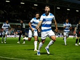 Queens Park Rangers' Charlie Austin celebrates scoring their first goal against Everton in the EFL Cup on September 21, 2021