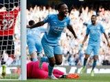 Manchester City's Raheem Sterling celebrates scoring a disallowed goal against Southampton on September 18, 2021