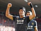 Wolverhampton Wanderers' Raul Jimenez celebrates scoring against Southampton on September 26, 2021