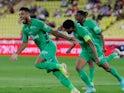 Saint-Etienne's Denis Bouanga celebrates scoring against Monaco on September 22, 2021