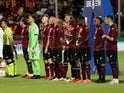 Salernitana players line up before their match against Roma on August 29, 2021