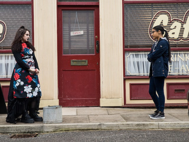 Nina and Asha on the second episode of Coronation Street on October 13, 2021