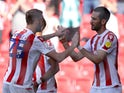 Stoke City's Mario Vrancic celebrates scoring their first goal against Hull City in the Championship on September 25, 2021
