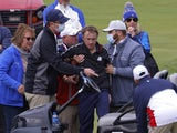 Tom Felton receives medical attention at a Ryder Cup event on September 23, 2021