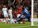 Manchester United's Anthony Martial misses a chance against West Ham United in the EFL Cup on September 22, 2021